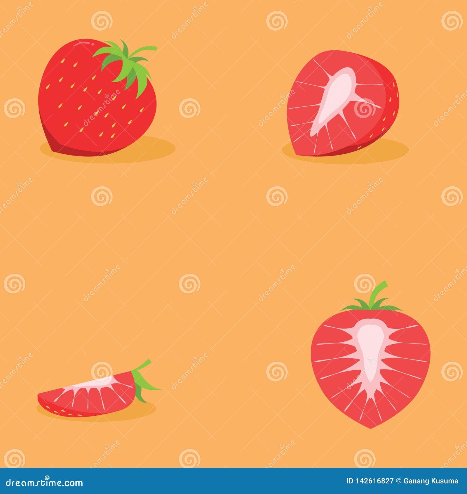 Ny jordgubbe för fyra skiva för design