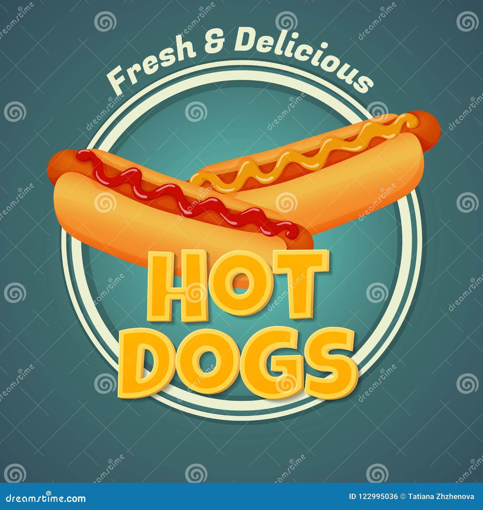 Ny och läcker varmkorvaffisch Två varmkorvar med ketchup och senap