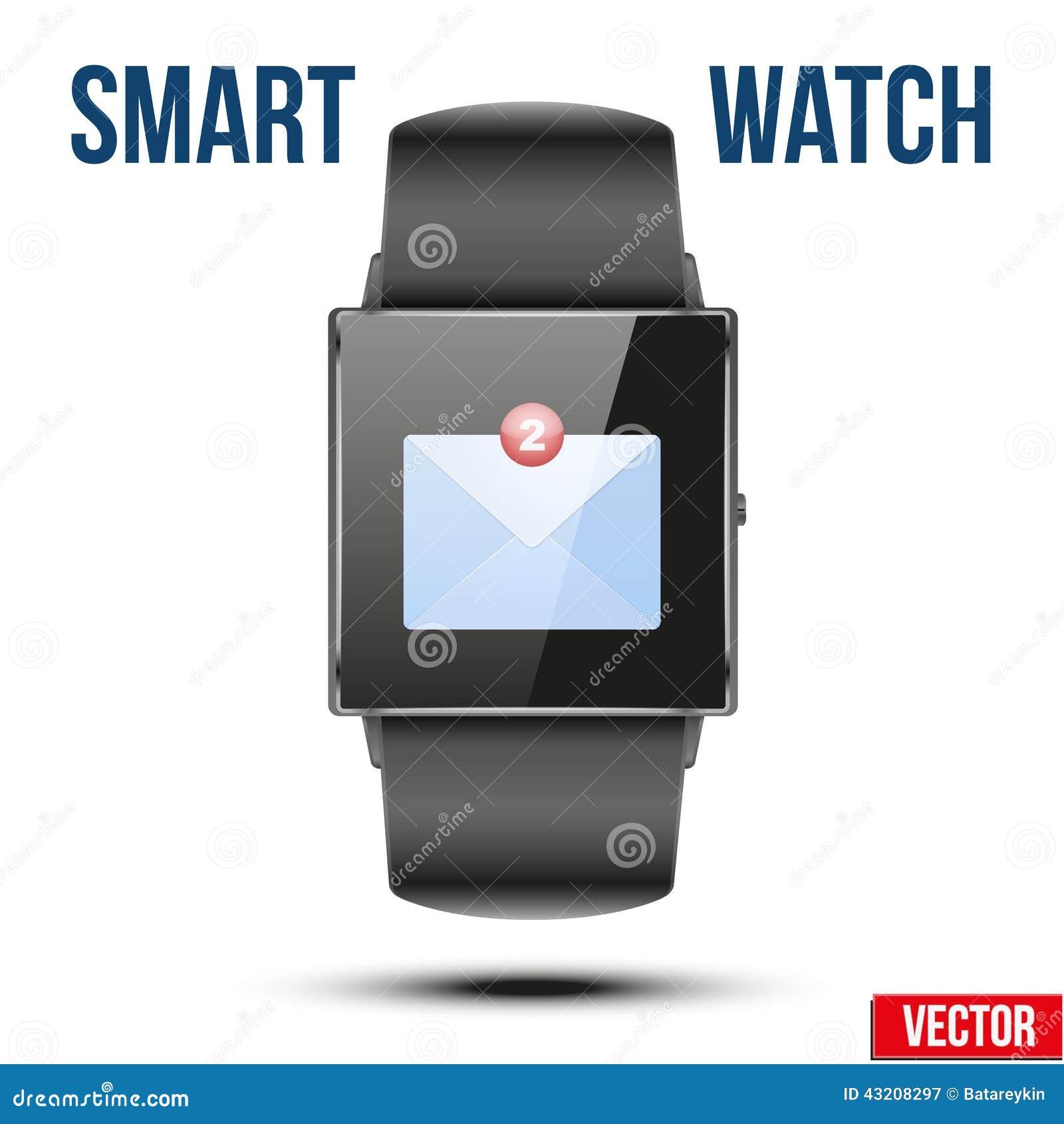 Download Ny Post Mottaget Meddelande På Den Smarta Klockan Vektor Illustrationer - Illustration av innovation, e: 43208297