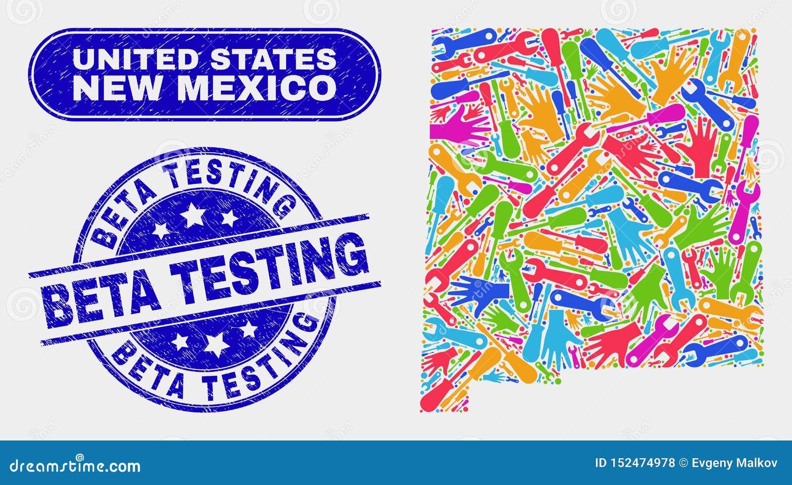 Ny produktivitet - Mexiko statöversikt och Grunge Beta Testing Watermarks