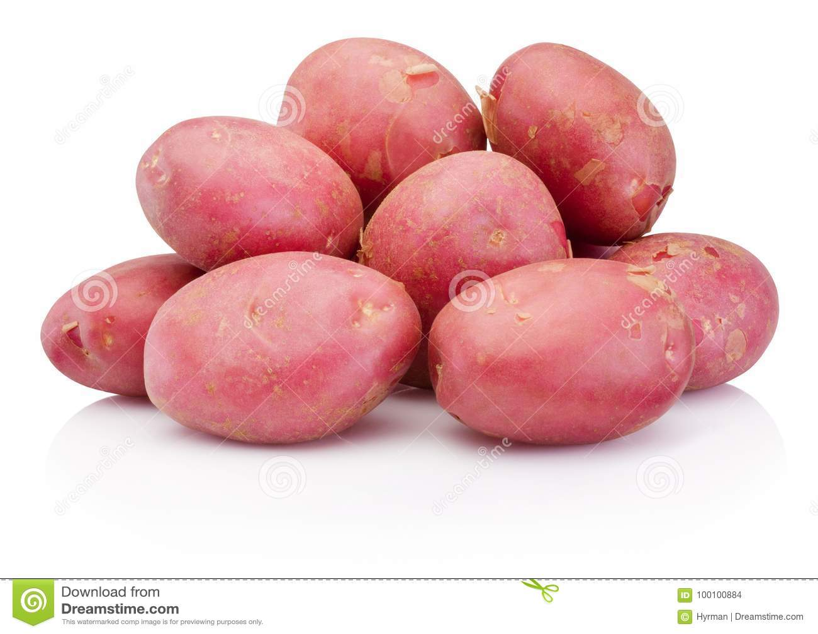 Ny röd potatis som isoleras på vit bakgrund