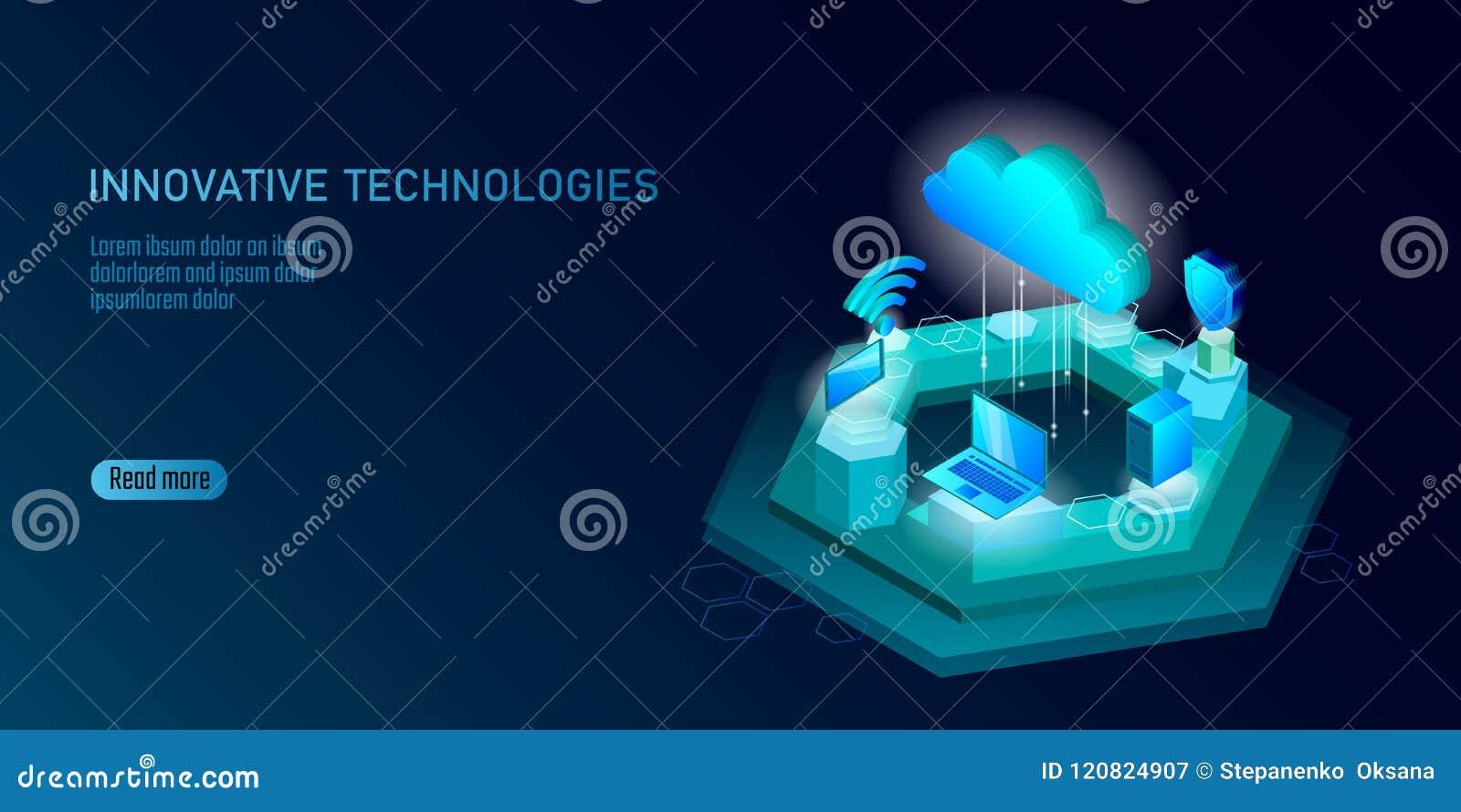 Ny trådlös wifianslutning för internet 5G Sänker isometriska blått 3d för bärbar datormobila enheten Hög hastighet för globalt nä