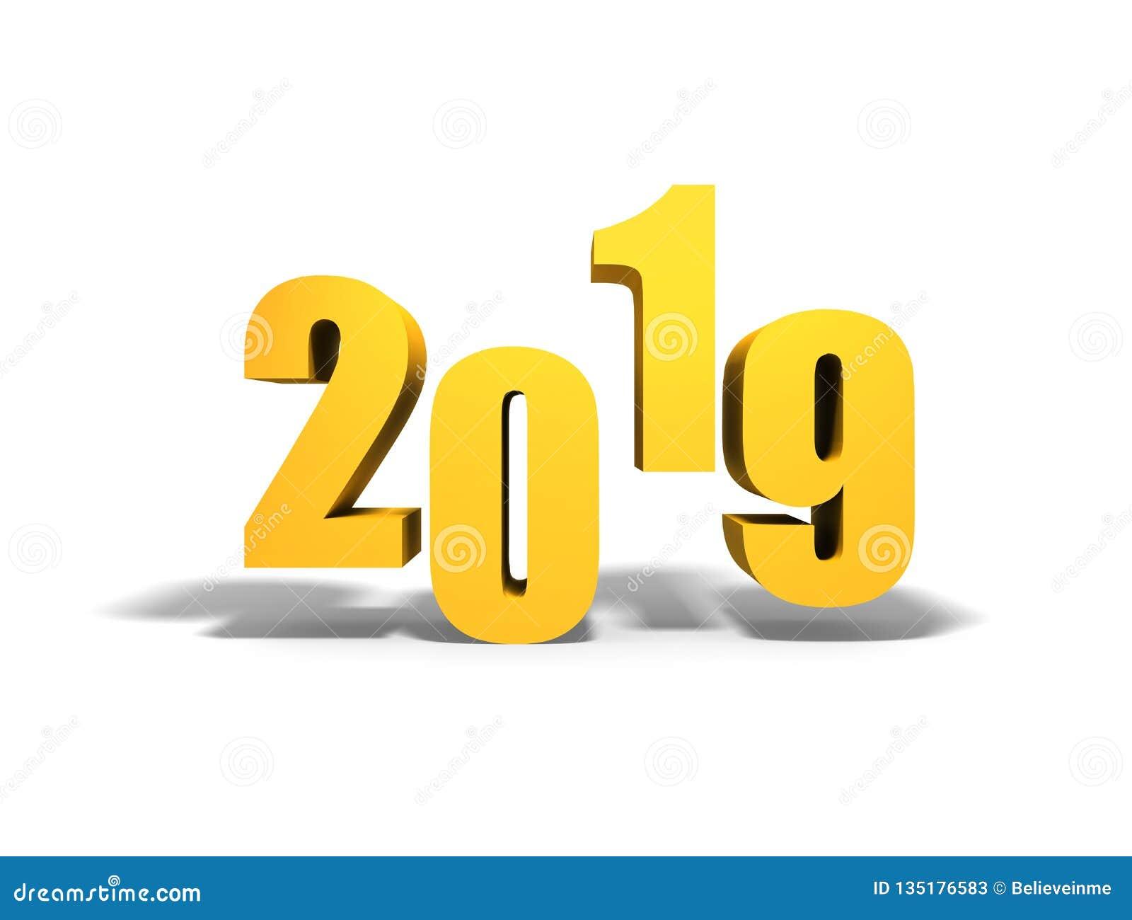 2019 nya år Guld- text med skugga
