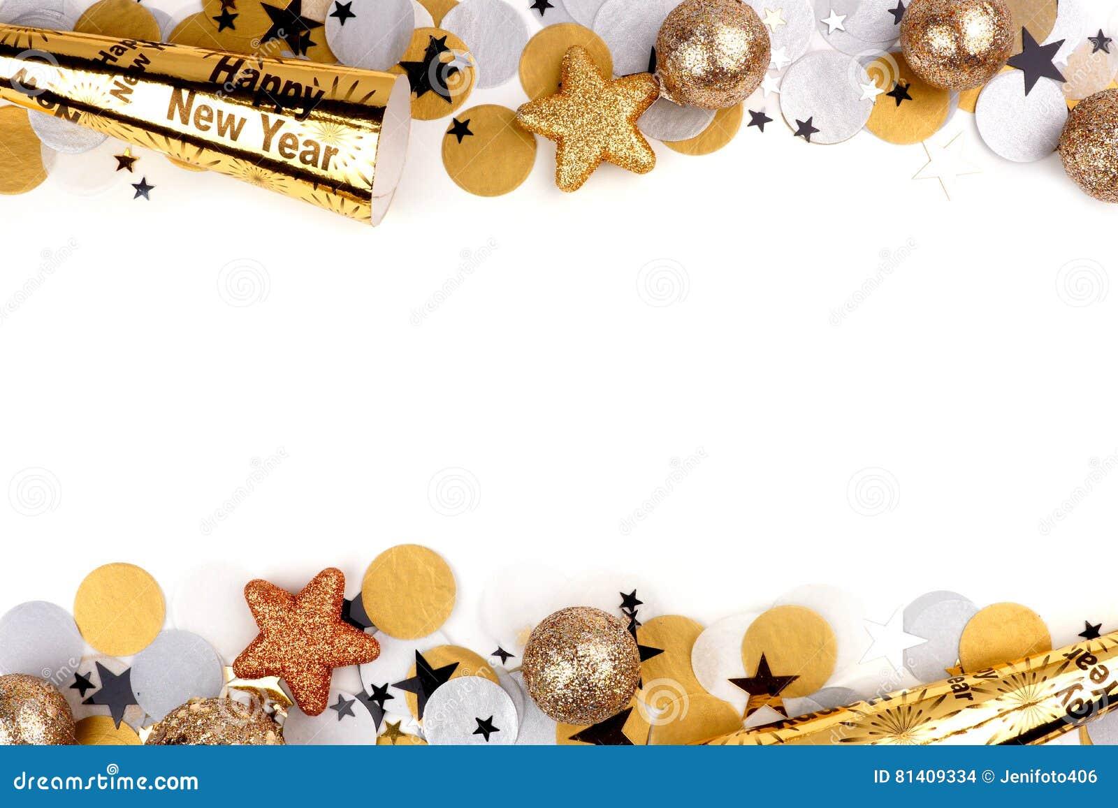 Nya år helgdagsaftondubblettgräns av konfettier och dekor över vit