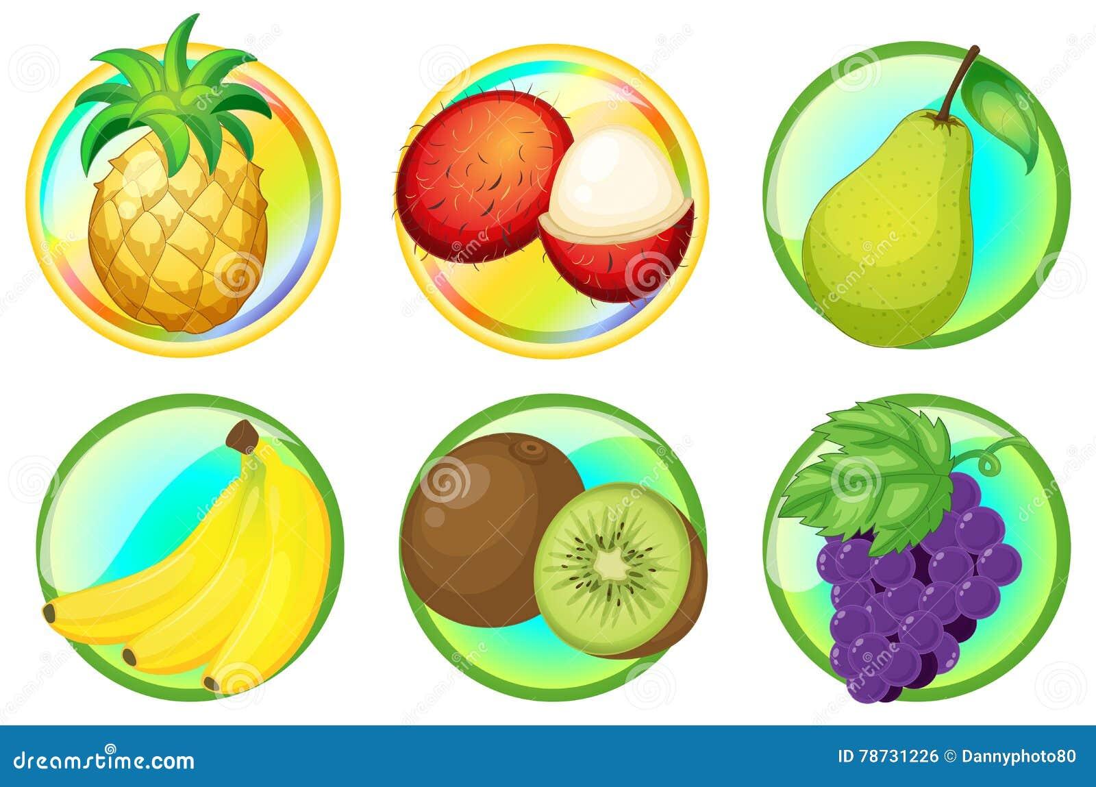 Nya frukter på runda emblem
