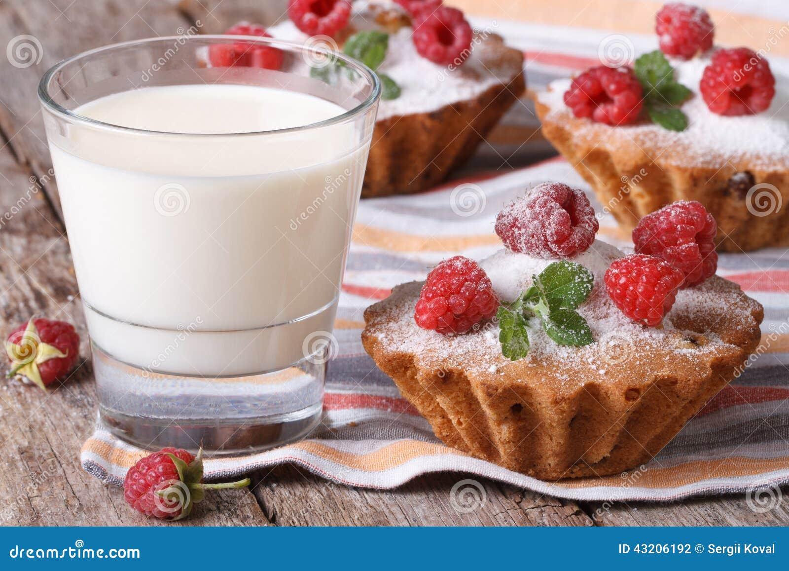 Download Nya Muffin Med Halloncloseupen Och Mjölkar Horisontal Arkivfoto - Bild av bakade, ljusbruna: 43206192