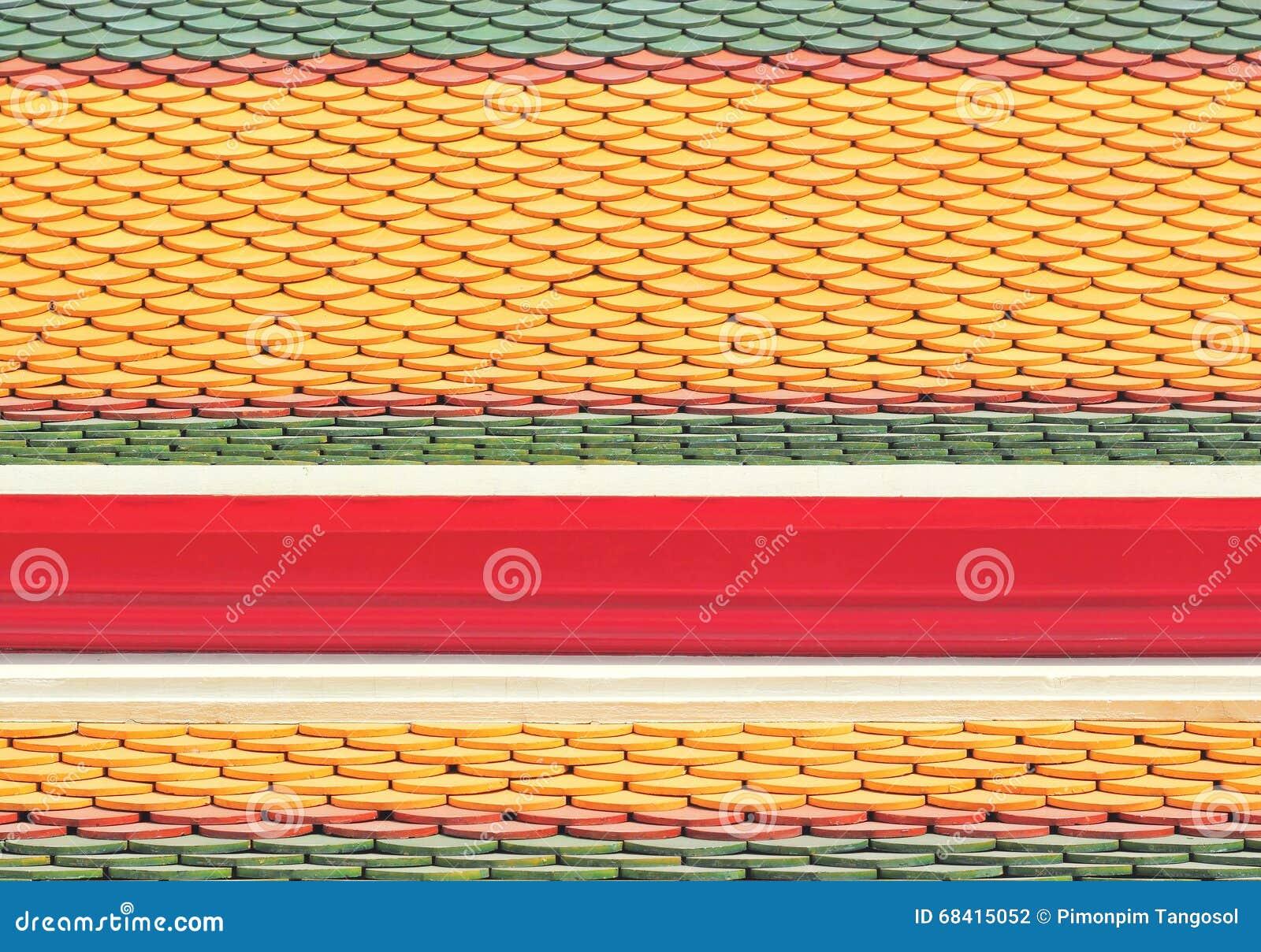 Nya taktegelplattor av den thailändska templet
