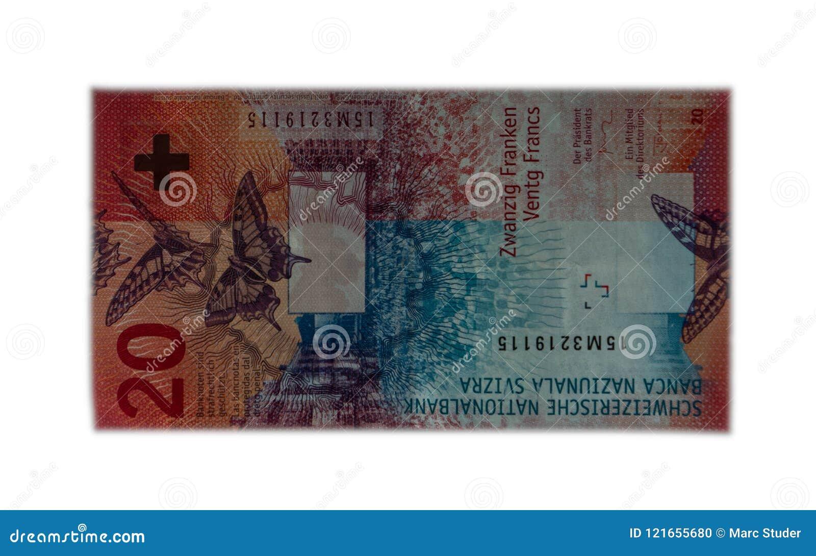 Nya tjugo schweizisk franc genomskinlig isolerad vit bakgrund