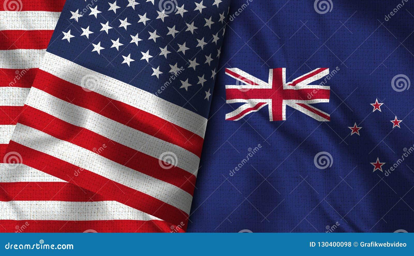 Nya Zeeland och USA sjunker - 3D flaggan för illustrationen två