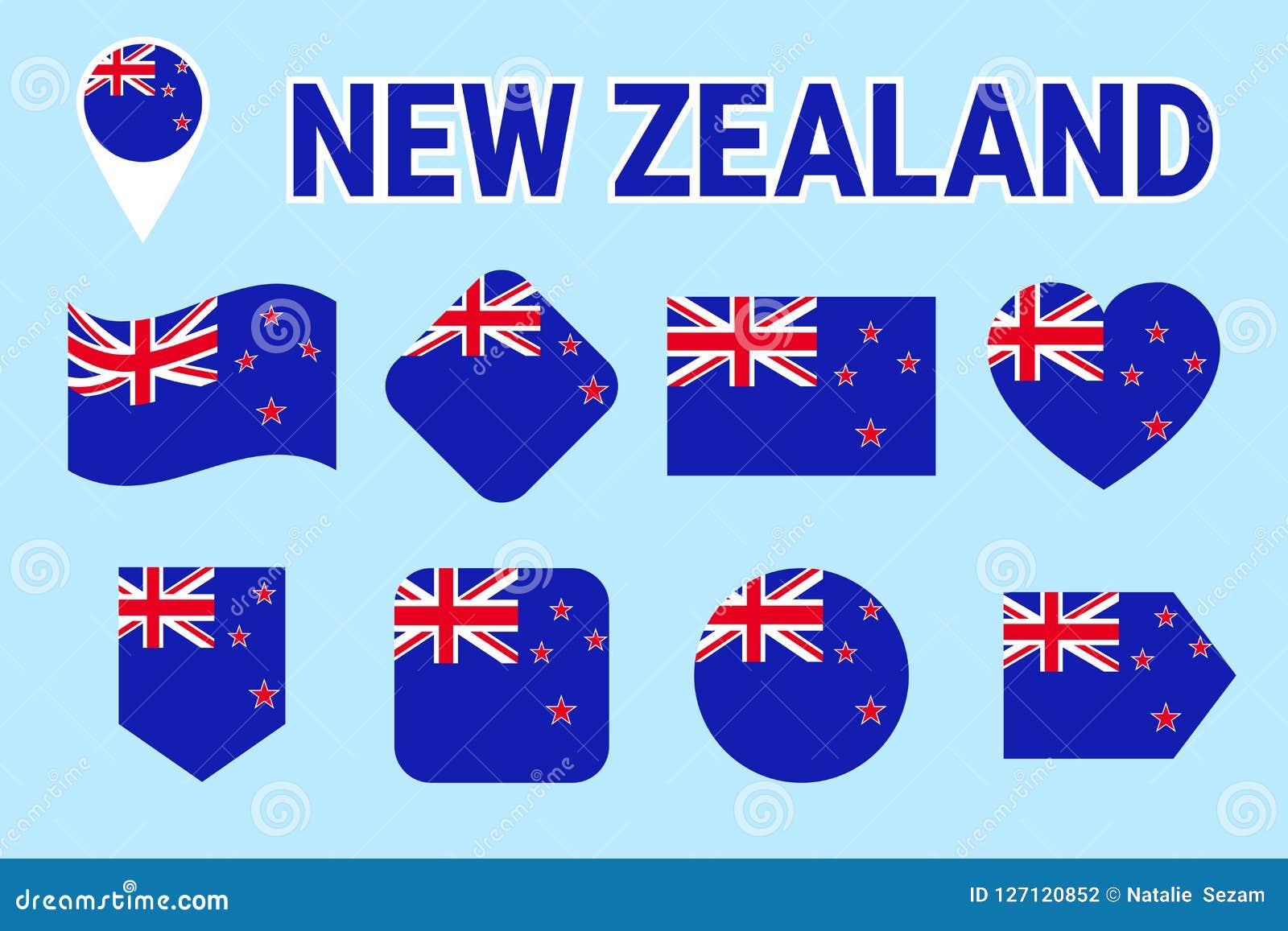 Nyazeeländsk flaggasamling Isolerade symboler för vektor lägenhet med tillståndsnamn Traditionella färger Nyazeeländsk flaggaupps