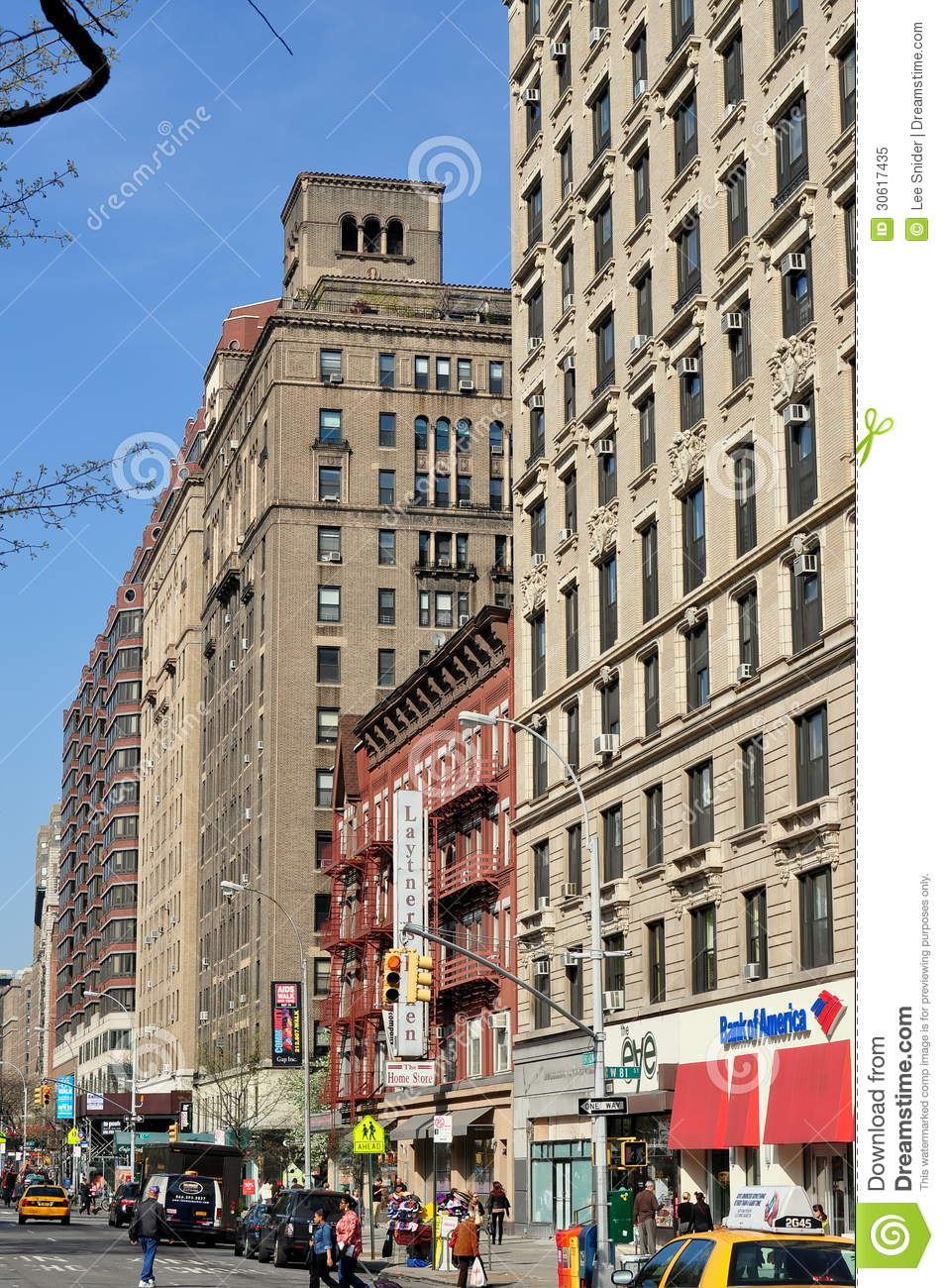 View Looking North Along Upper Broadway From West 81st Street Lined With Upscale Apartment Buildings In New York City