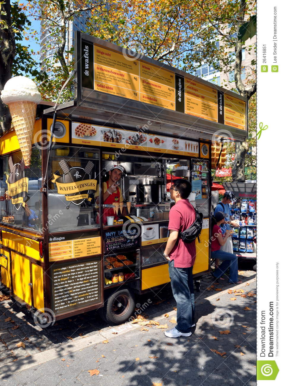 Editorial stock photo download nyc belgian waffle food truck