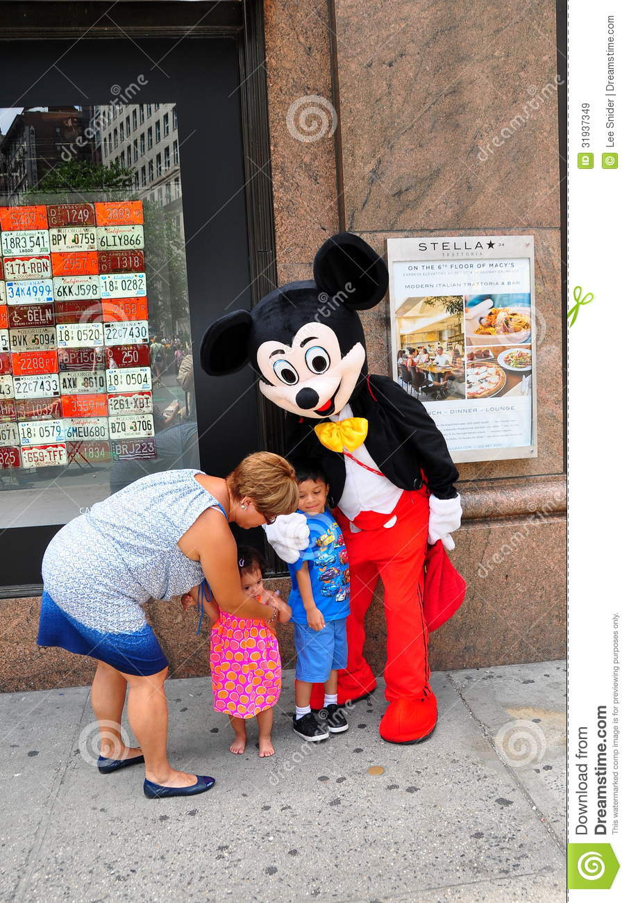 nyc  children with mickey mouse editorial stock image