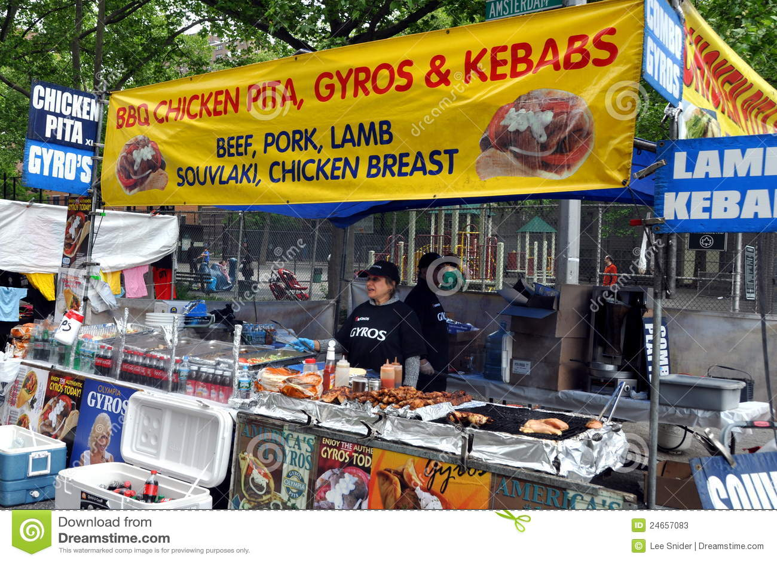NYC: Food Vendor At Street Festival Editorial Stock Photo