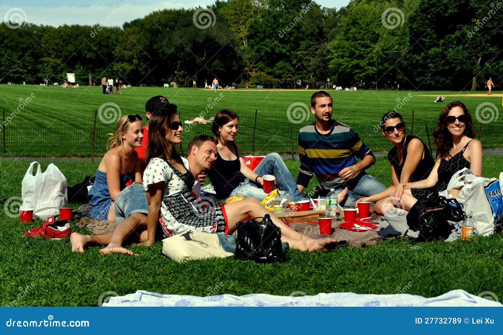 NYC: Freunde, die Picknick in Central Park haben