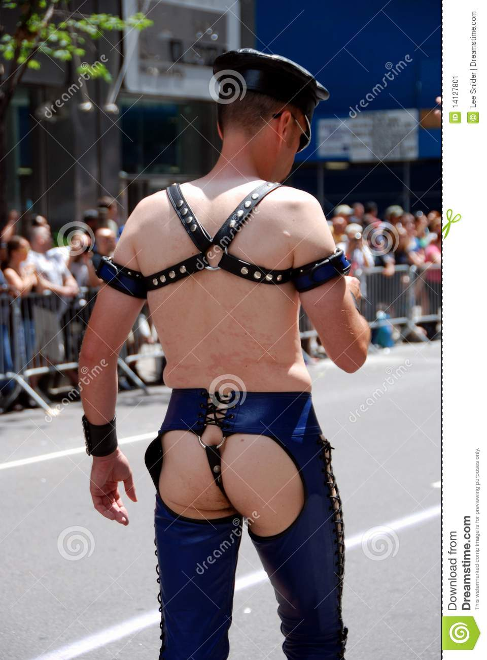 Wearing gay leather chaps in public