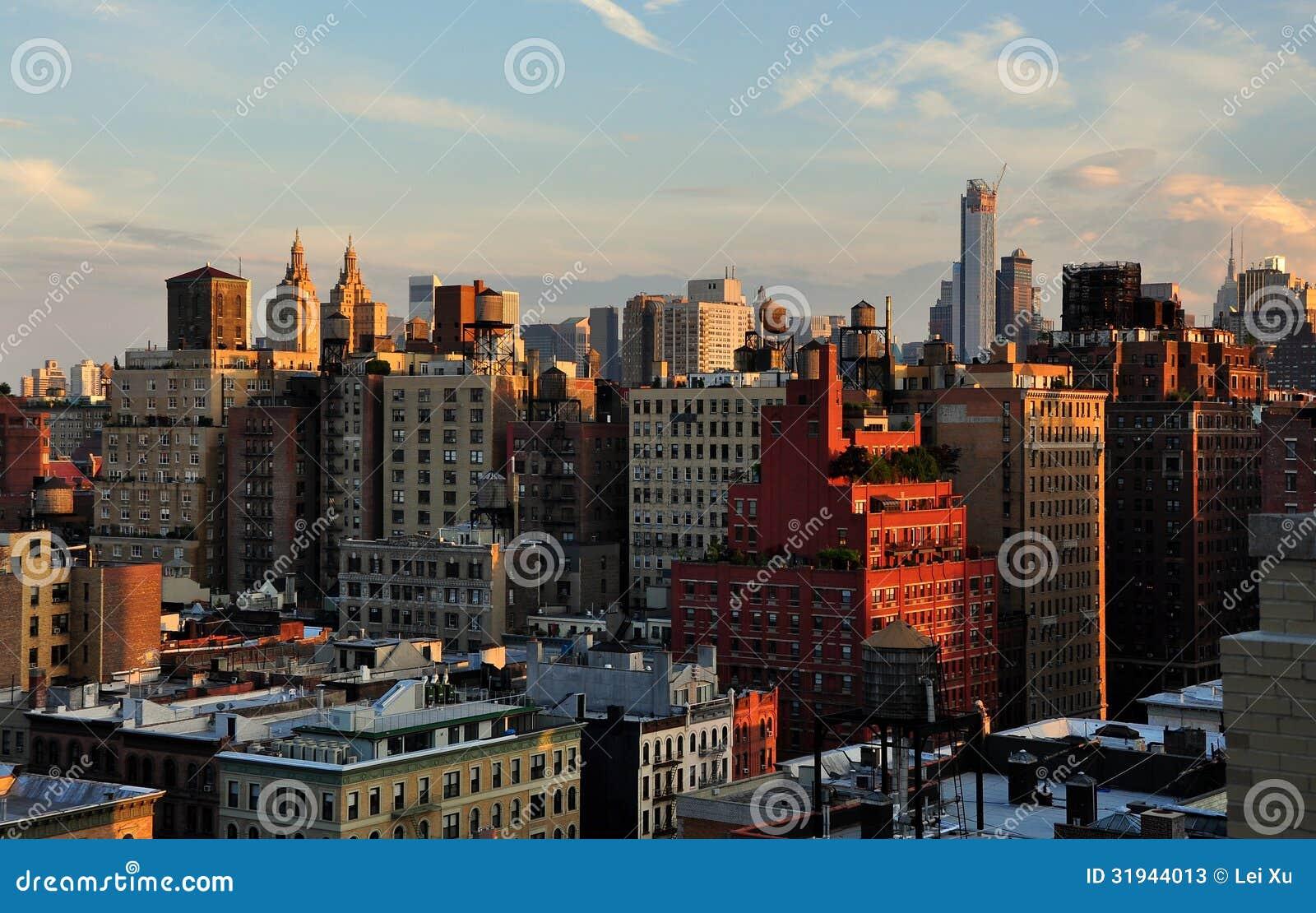 NYC : Horizon supérieur de côté Ouest et de Midtown