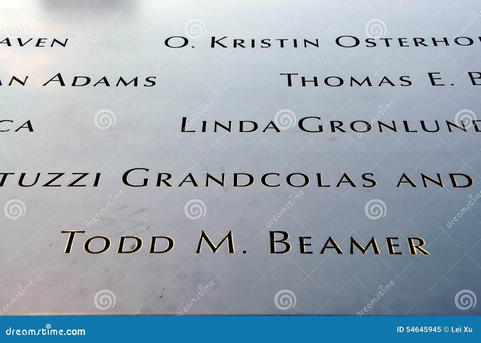 NYC: Inscribed Names at 9/11 Memorial