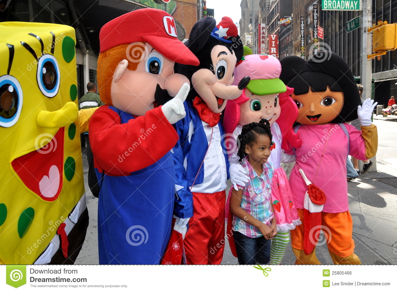 nyc little girl with cartoon characters editorial photo image of