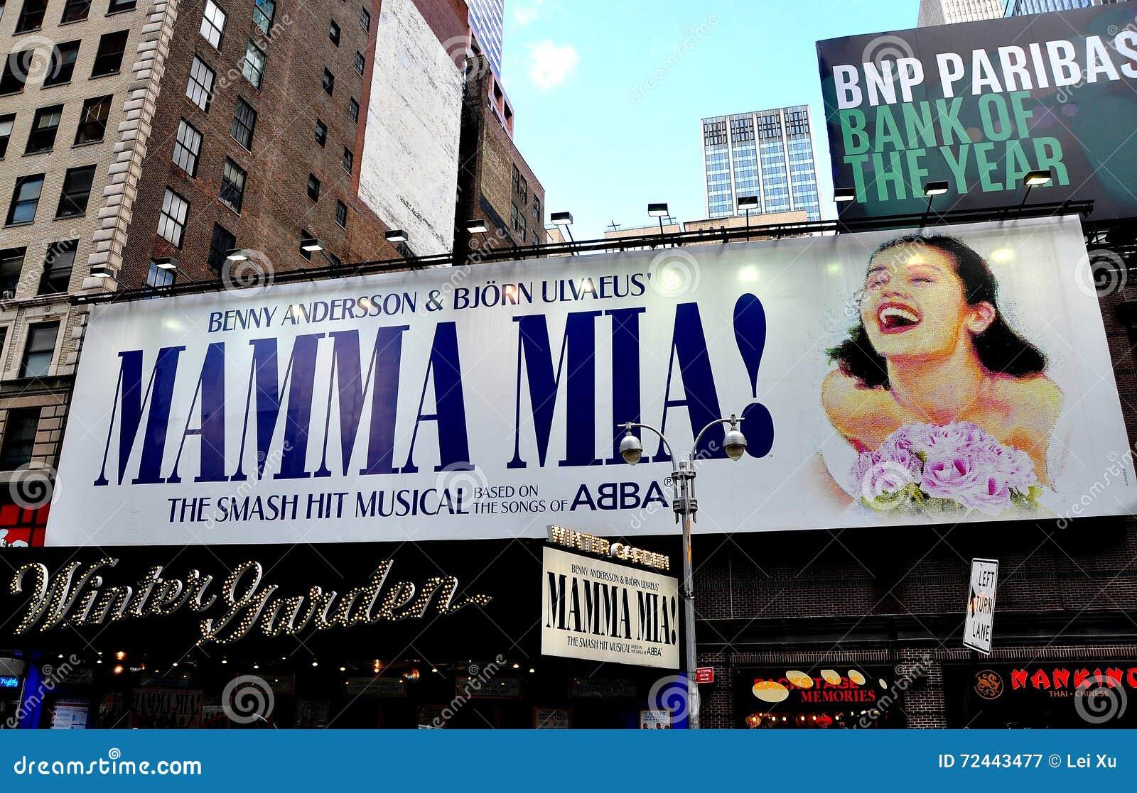 Nyc Mama Mia Billboard At Winter Garden Theatre Editorial