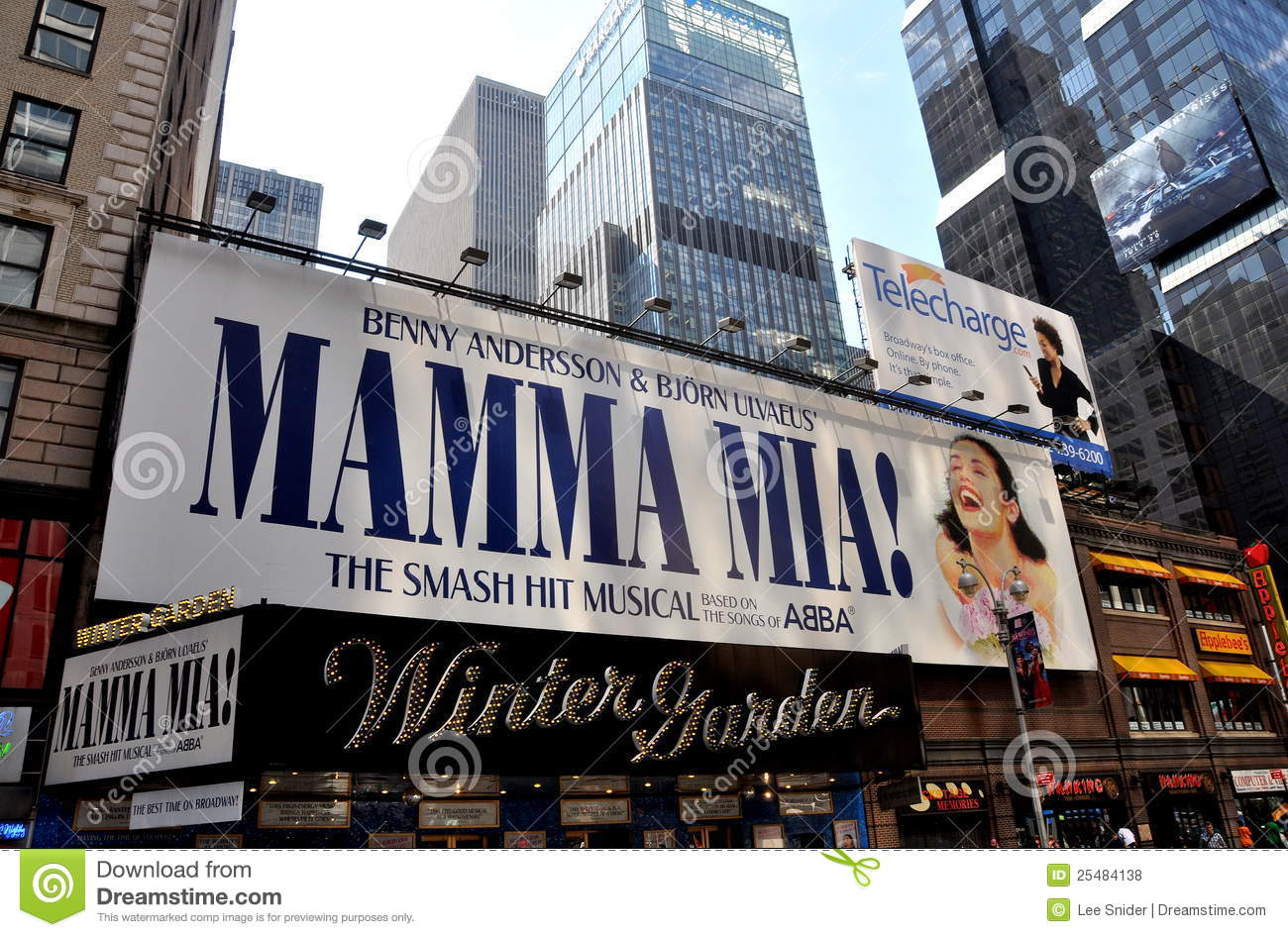 nyc mamma mia musical at winter garden theatre editorial stock