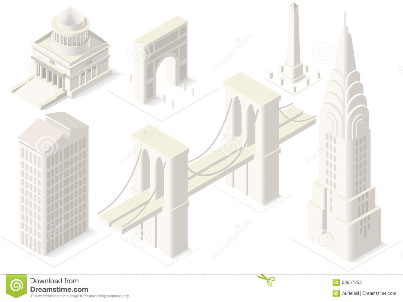 NYC Map 04 Building Isometric Stock Vector Image 58667253