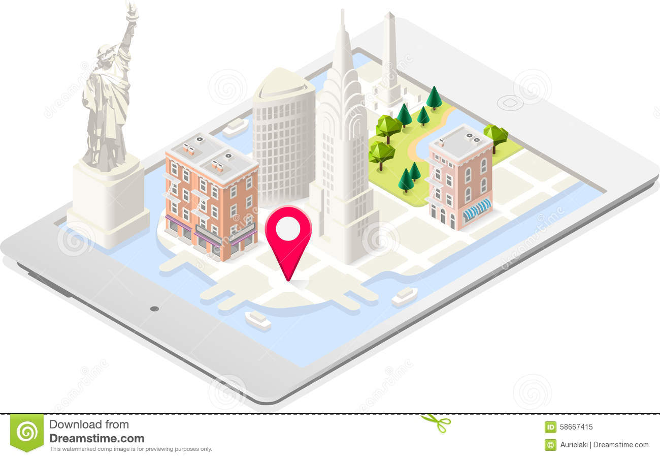 NYC Monuments Landmarks Isometric Stock Vector Illustration