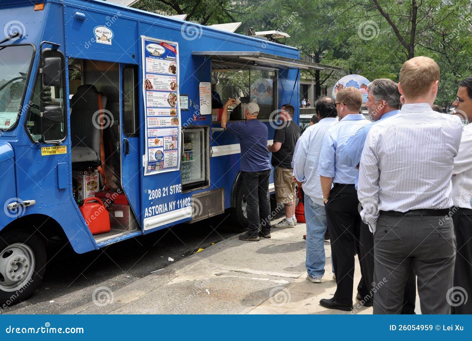 NYC: Mensen die Voedsel kopen