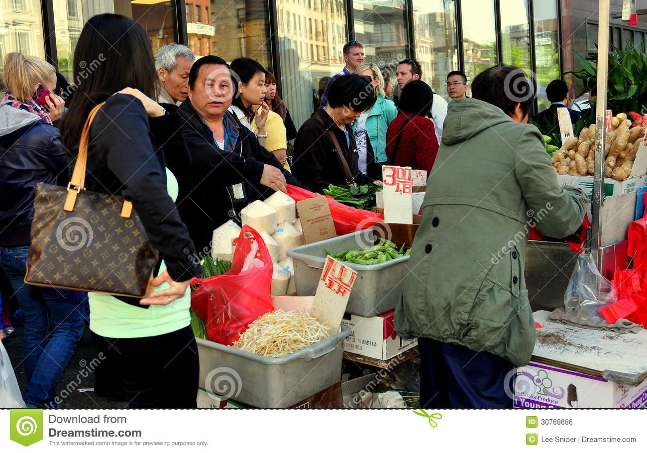 NYC: People Shopping on Canal Street in Chinatown