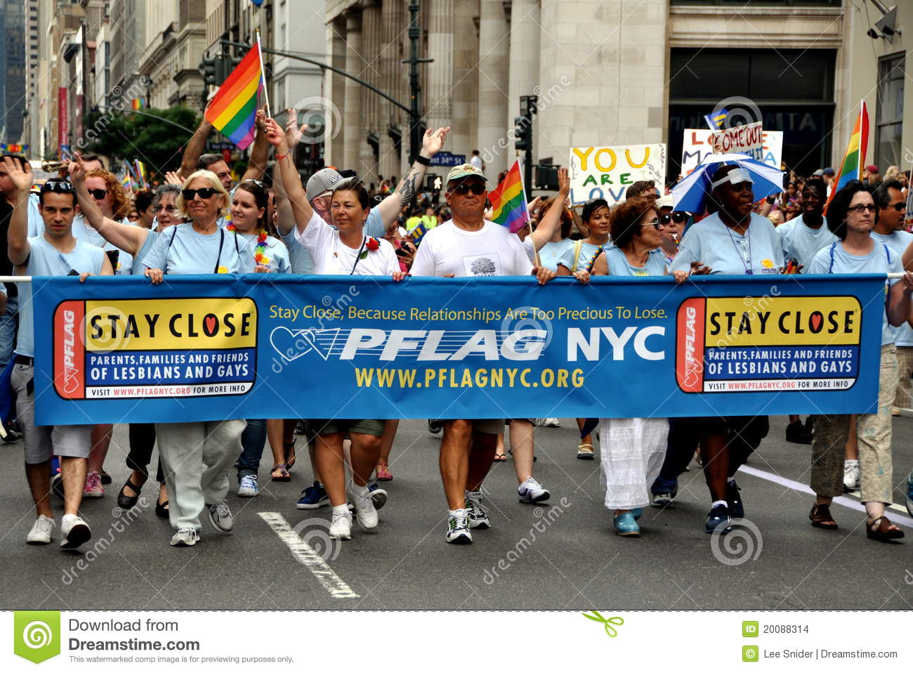 York PFLAG (Parents and Friends of Lesbians and Gays) support group ...: dreamstime.com/stock-images-nyc-pflag-group-gay-pride-parade...