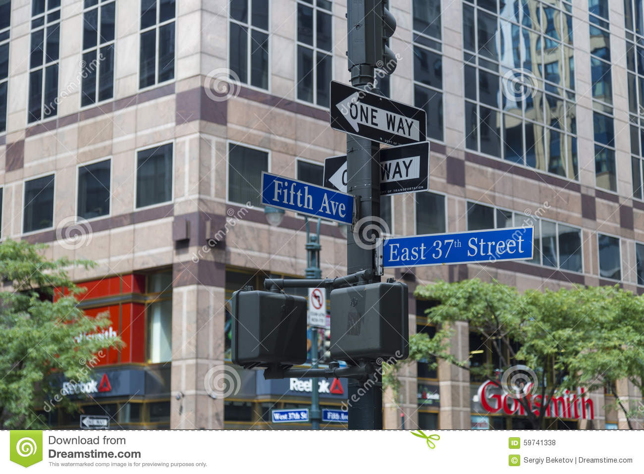 nyc signpost in midtown manhattan at landmark streets 5th ave and 37th st new york city. Black Bedroom Furniture Sets. Home Design Ideas