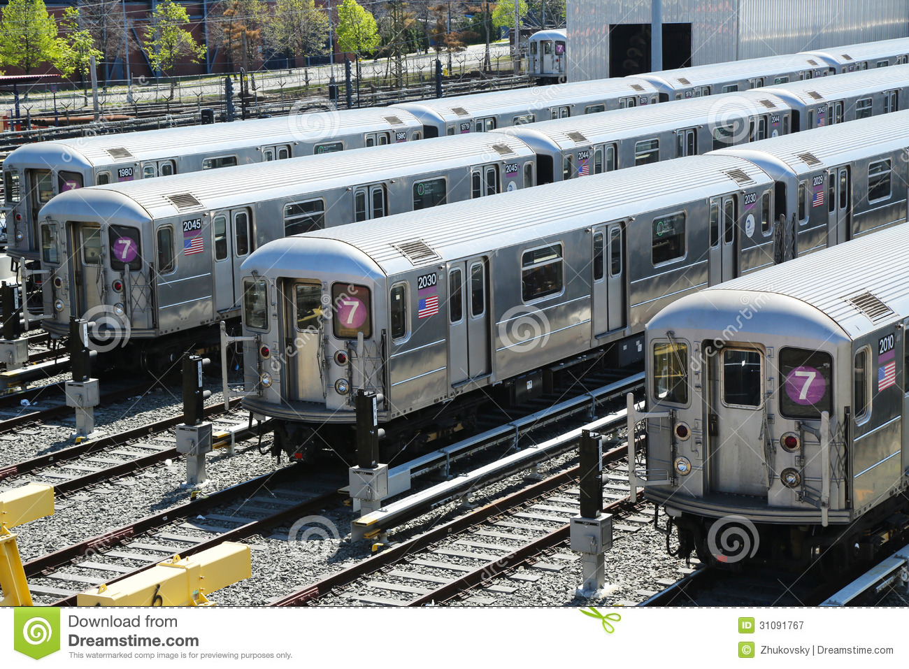 NYC Subway Cars In A Depot Editorial Photography Image