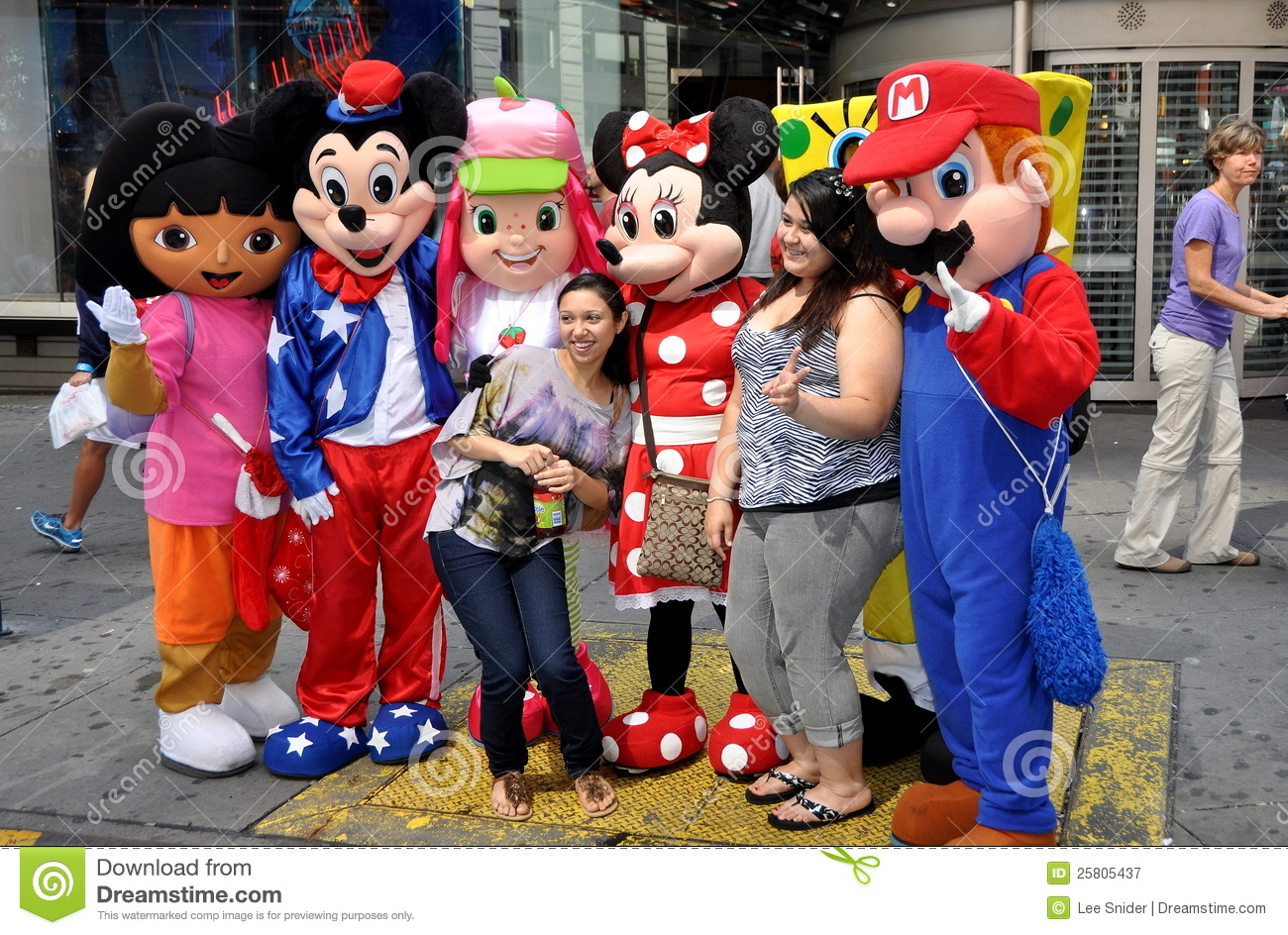 nyc tourists with cartoon characters editorial photography image