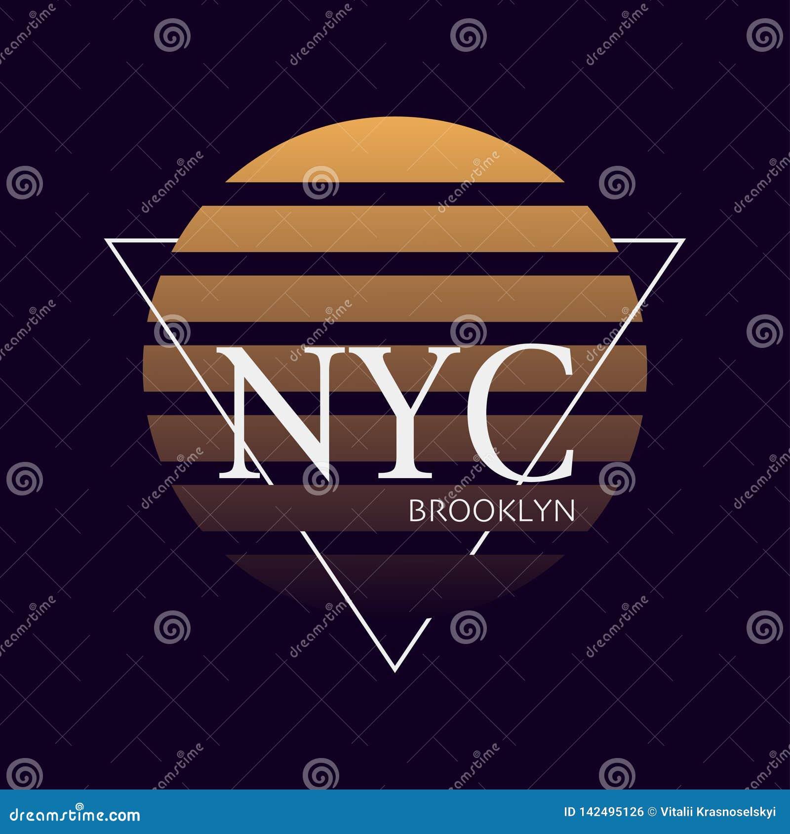 Nyc tryck Typografidesign New York modell på skjortan York illustration retro stil - Mappen för vektorn