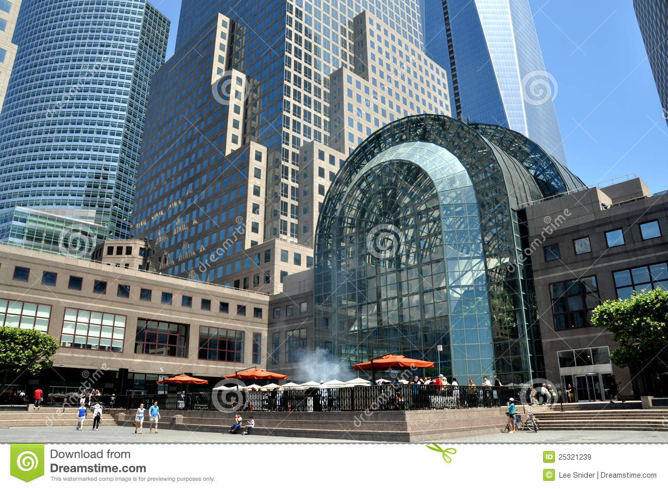 nyc winter garden and world financial ctr plaza editorial stock
