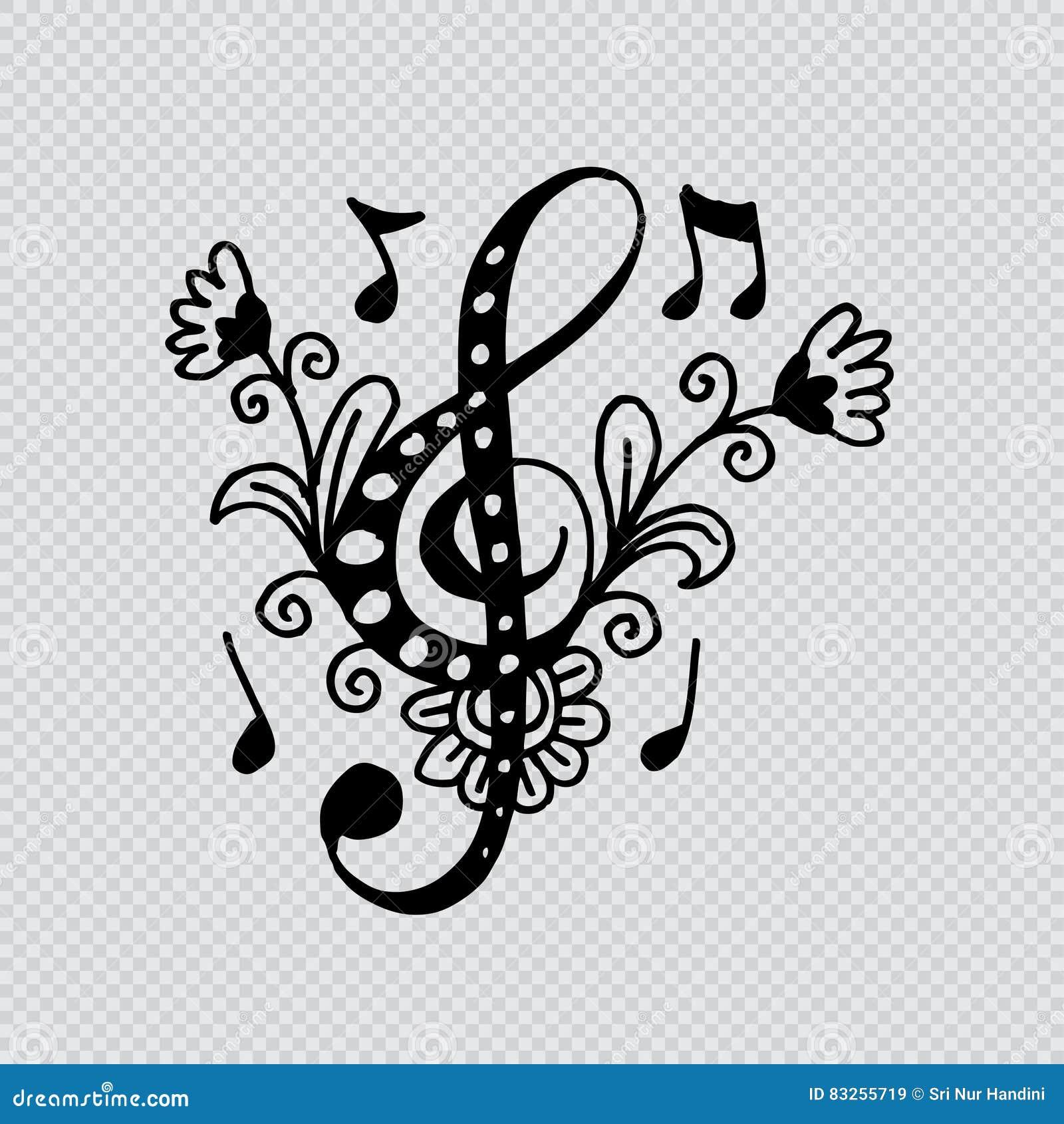 Nyckel- dekorativ stil för musik