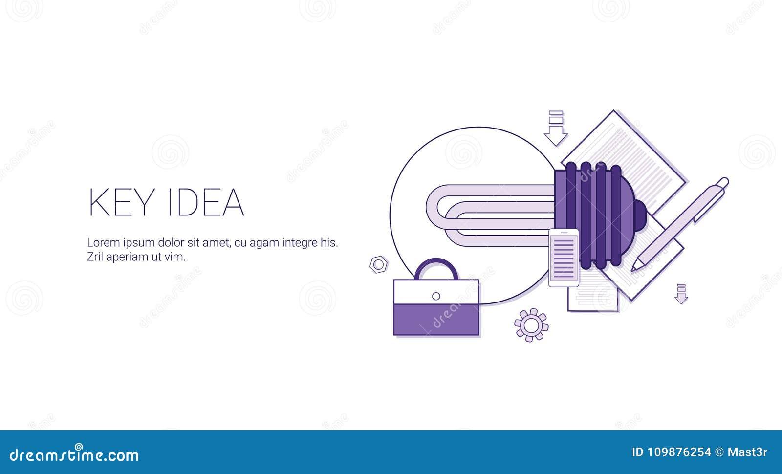 Nyckel- idérengöringsdukbaner med begrepp för utveckling för kopieringsutrymmeaffär idérikt