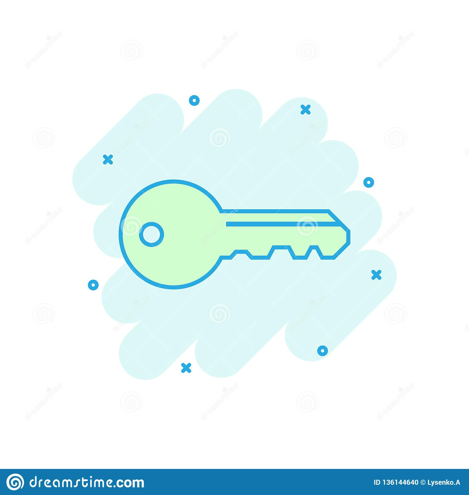 Nyckel- symbol i komisk stil Pictogram för illustration för tecknad film för tillträdesinloggningsvektor Effekt för färgstänk för