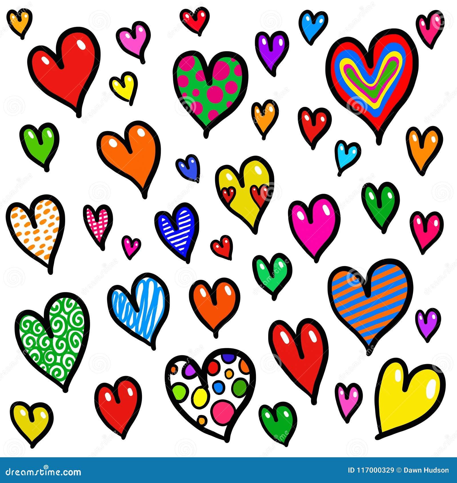Nyckfull design för bakgrund för klotterförälskelsehjärta