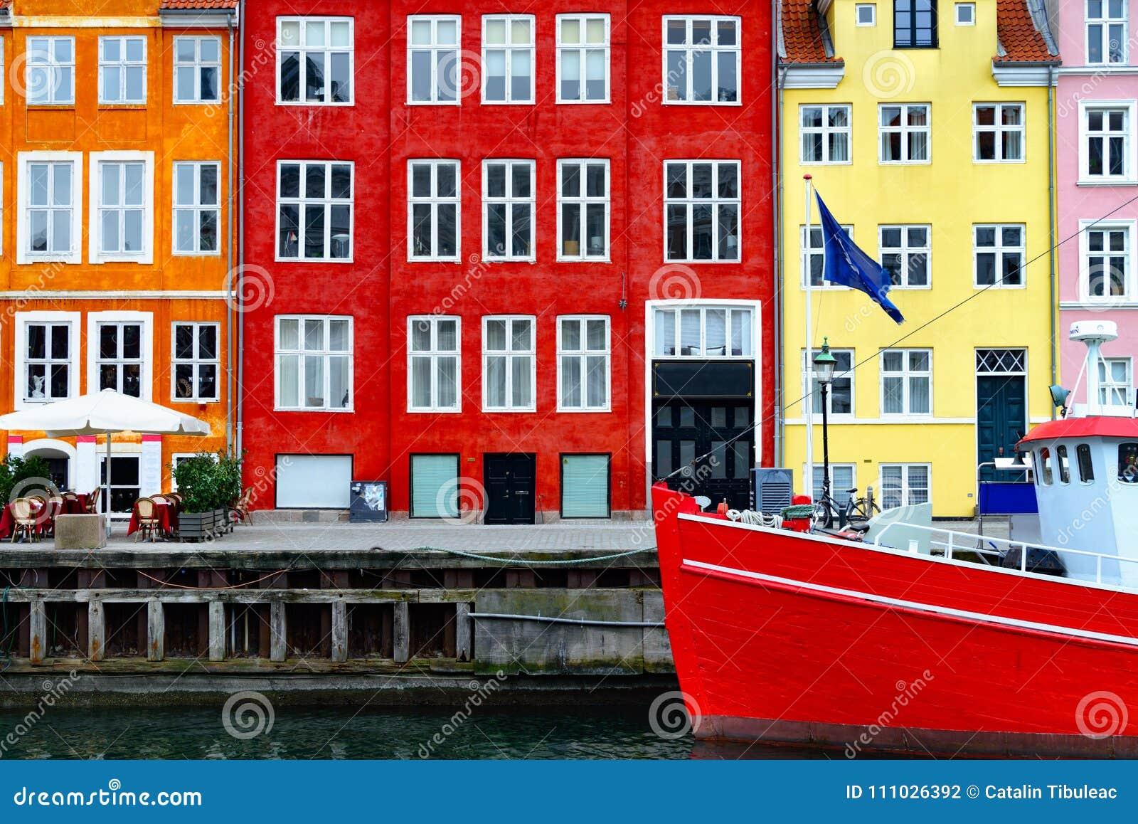 Nyhavn barwił budynki, Kopenhaga