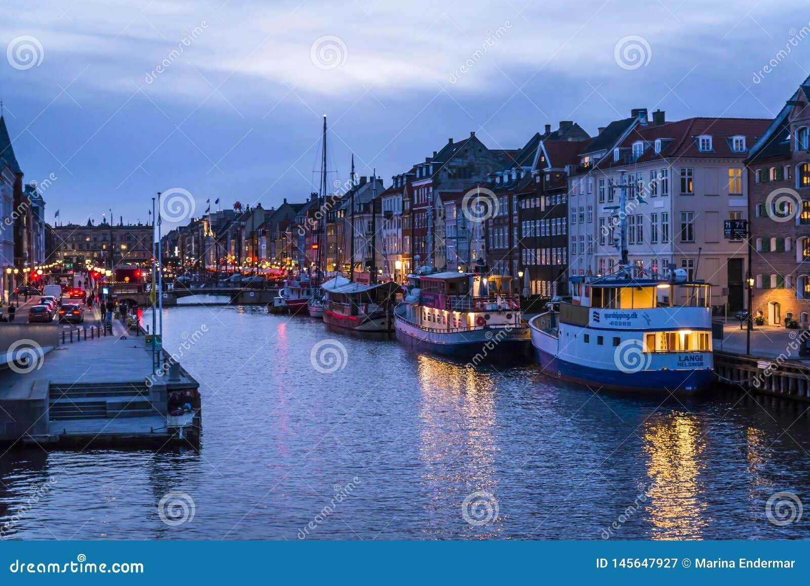 Nyhavn or New harbour, Copenhagen, Denmark