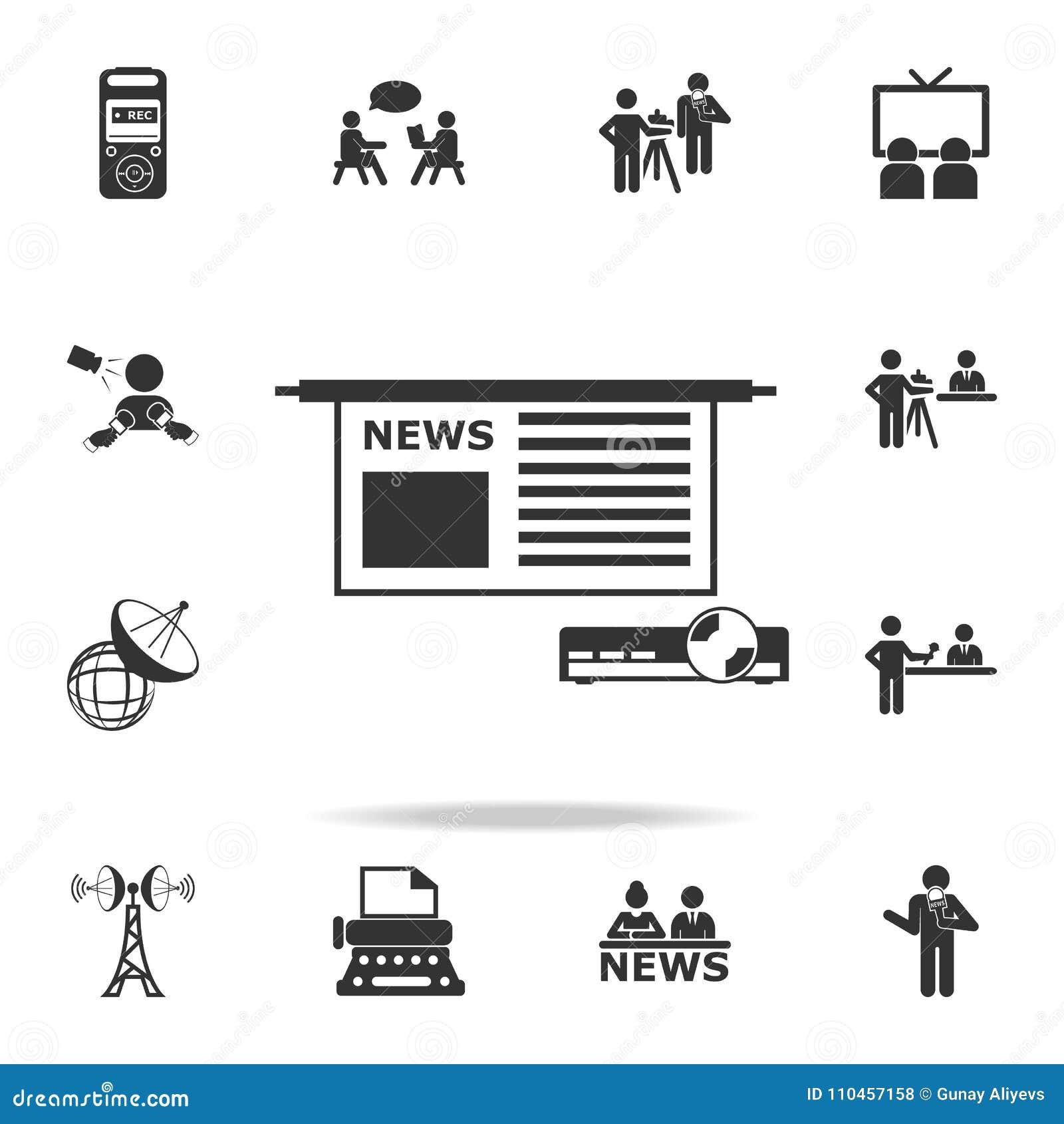 Nyheterna i projektor- och skärmsymboler Detaljerade uppsättningsymboler av massmediabeståndsdelsymbolen Högvärdig kvalitets- gra