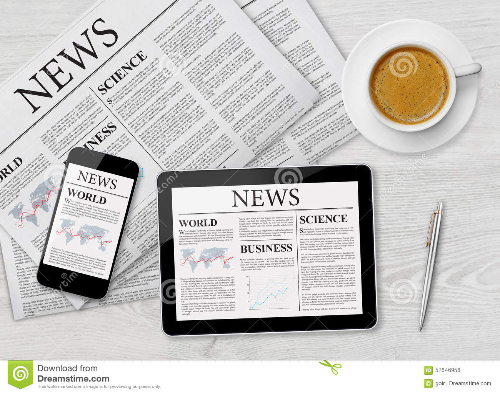 Nyheternasida på minnestavlan, mobiltelefonen och tidningen