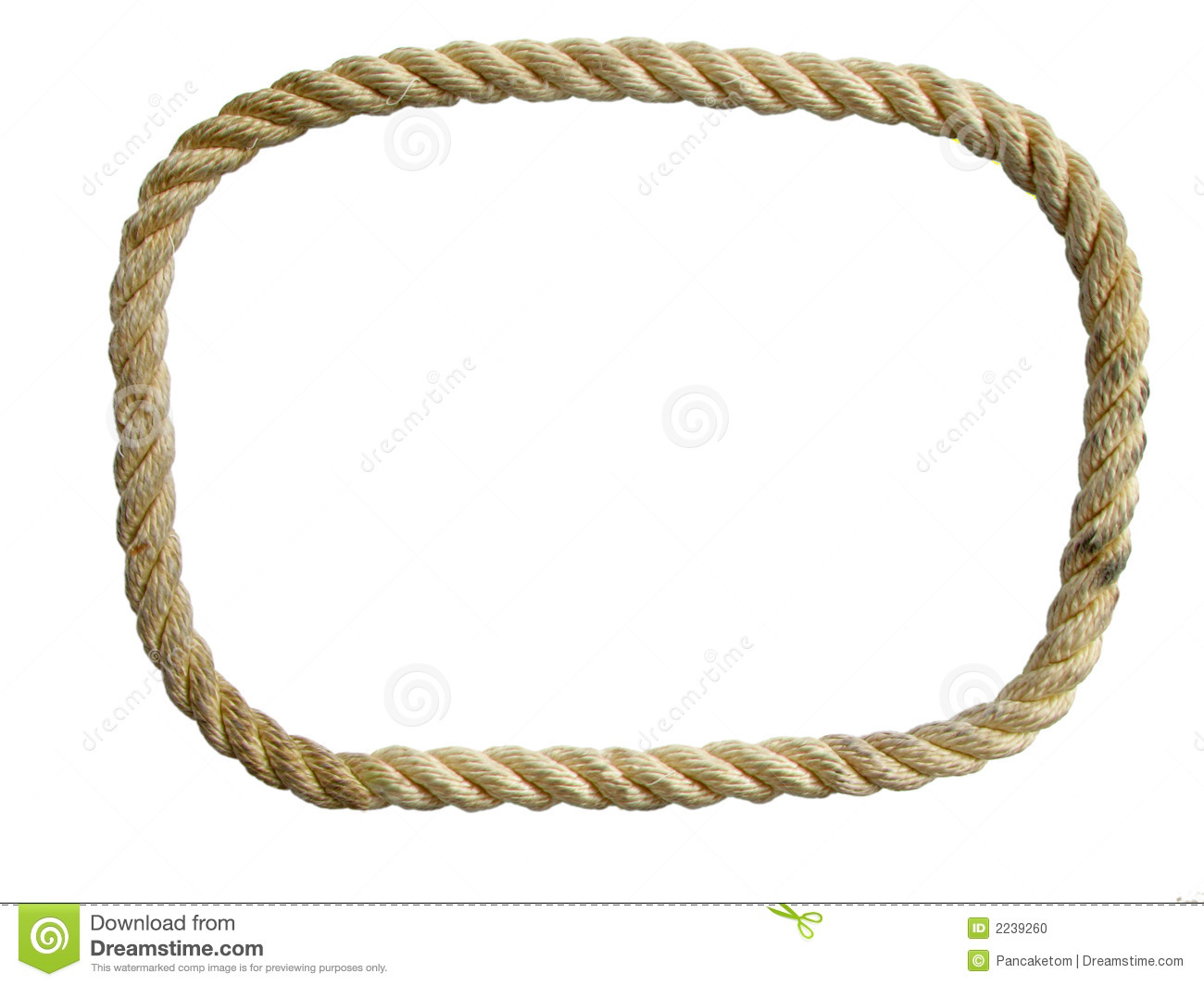 Endless used nylon rope loop isolated on white background.