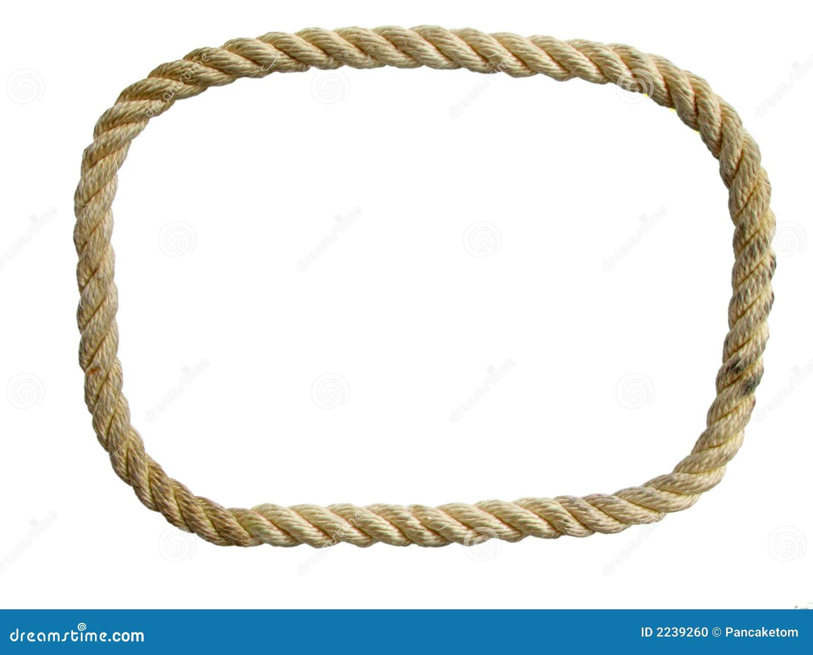 Endless used nylon rope loop isolated on white background.
