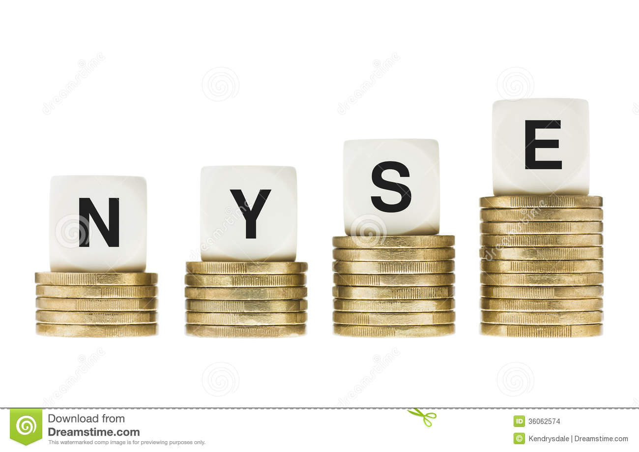 Nyse new york stock exchange letters on gold coin stacks stock royalty free stock photo buycottarizona