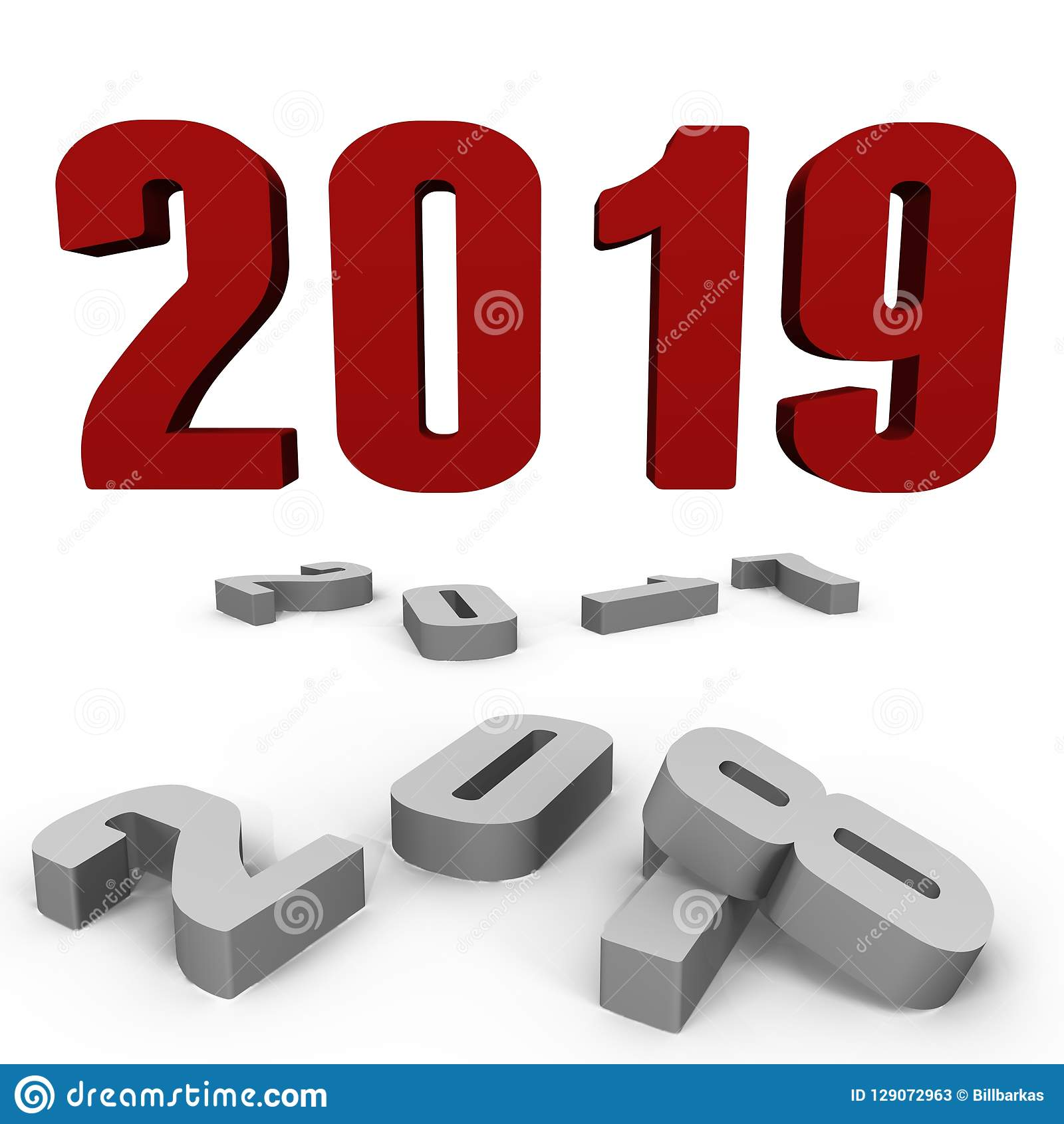 Nytt år 2019 över förbi en - en bild 3d