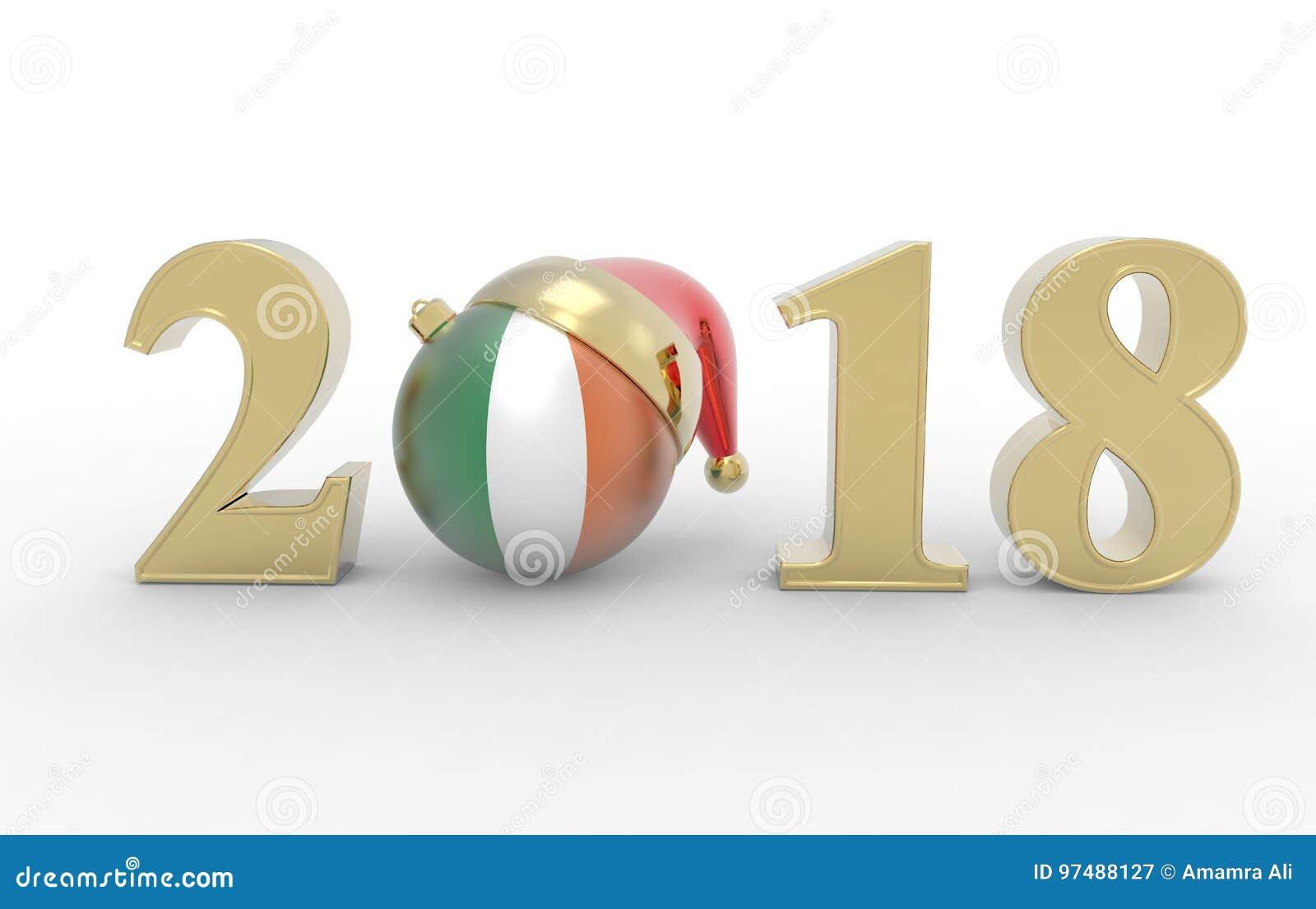 Nytt år 2018 med irlandflaggan 3d