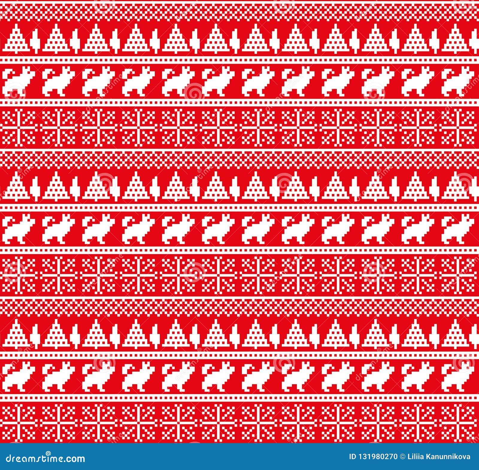 Nytt års för jul modell för PIXEL för vinter sömlös festlig norsk - skandinavisk stil