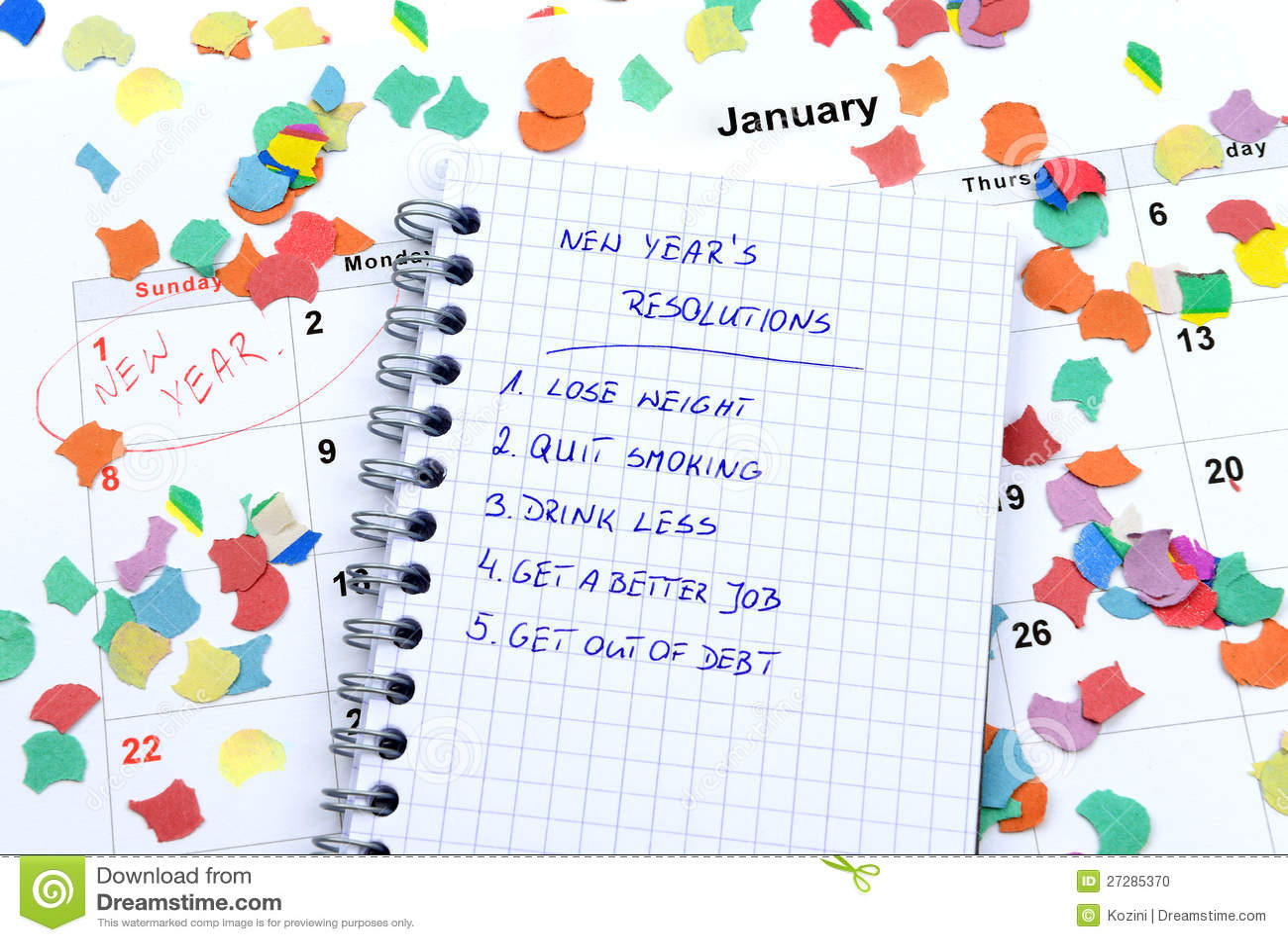 Nytt års upplösningar och konfettiar